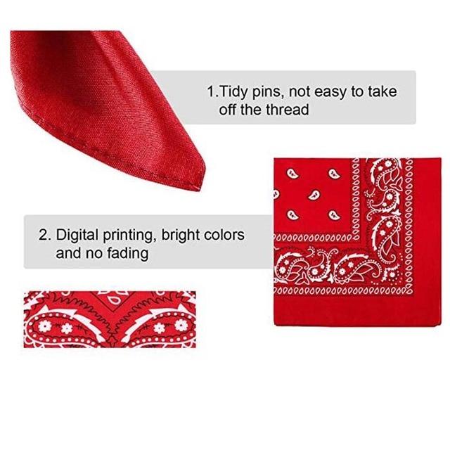 Cotton Paisley Bandana Cowboy Headscarf Unisex Print Head Wrap Scarf Wristband Cycling Face Mask for Adults Kids Pets 2