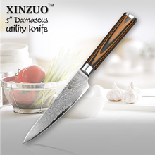 XINZUO 5″ Utility knife Japanese VG10 Damascus steel kitchen knife paring fruit knife colour wood handle wholesale FREE SHIPPING