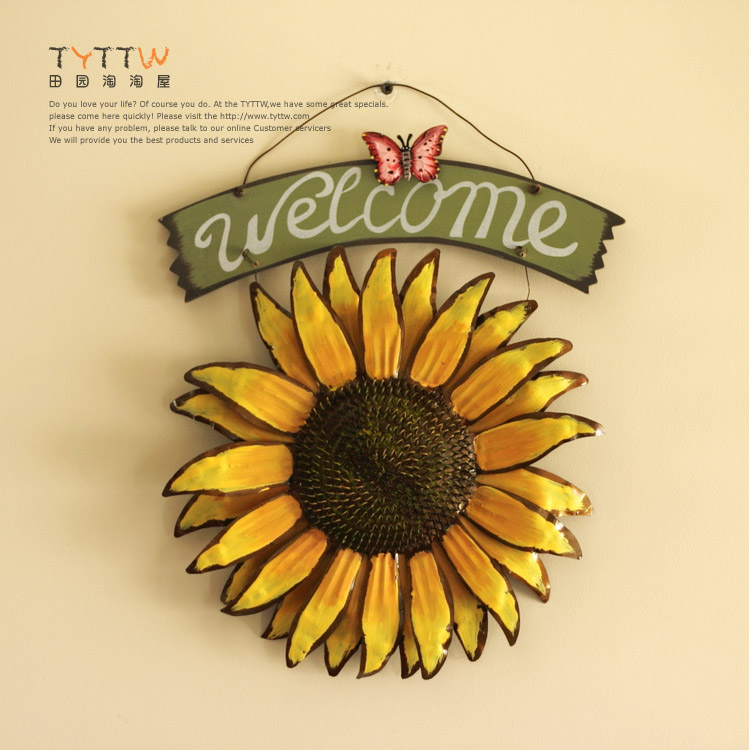 Welcome Plaque Sunflower Iron Hangings Wall Decoration 38.5*30 cm-in ...