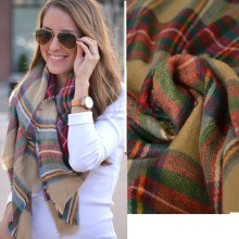2014 Winter Women Scarves za Large Tartan Scarf Pashmina Warp Shawl Acrylic Black Checked Hot sale