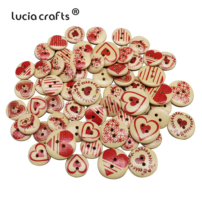 100pcs Mixed Tree Pattern 2 Holes Wooden Buttons Sewing Scrapbooking Crafts 15mm