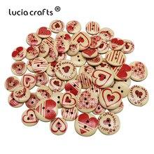 Lucia crafts 50 шт 15 мм/20 мм деревянные пуговицы в форме сердца смешанный узор 2 отверстия кнопки для шитья скрапбукинга DIY аксессуары E0109