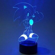 Sonic 3D ночной Светильник, визуальная иллюзия, светодиодный, RGB изменение, звуковой Ежик, фигурка, новинка, светильник на Рождество