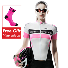 Santic MTB Bike Cycling Jersey Women Summer Short Sleeve Breathable Pro Team Clothing Quick Dry Maillot Ciclismo 2019