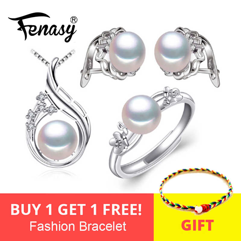 FENASY S925 Sterling Silver Feather Necklace Set Flower Ring Clip Earrings Boho Freshwater Pearl Fashion Jewelry Sets For Women