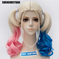 New Arrival Film Movie Suicide Squad Harley Quinn Cosplay Costume Wig Batman Clown Curly Gradient Wigs Heat Resistant Fibre