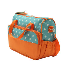 Five-piece Mummy Bags Set Multifunction Fashion Polka Dot Handbags Shoulder Bags Mom Tote with Feeding Bottle/Lunch Bag