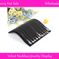 3PCS 2014 Free Shipping,19*19.7cm Black Velvet Necklace Bracelet Curved Showcase Holder  Velvet Jewelry Display Stand holders