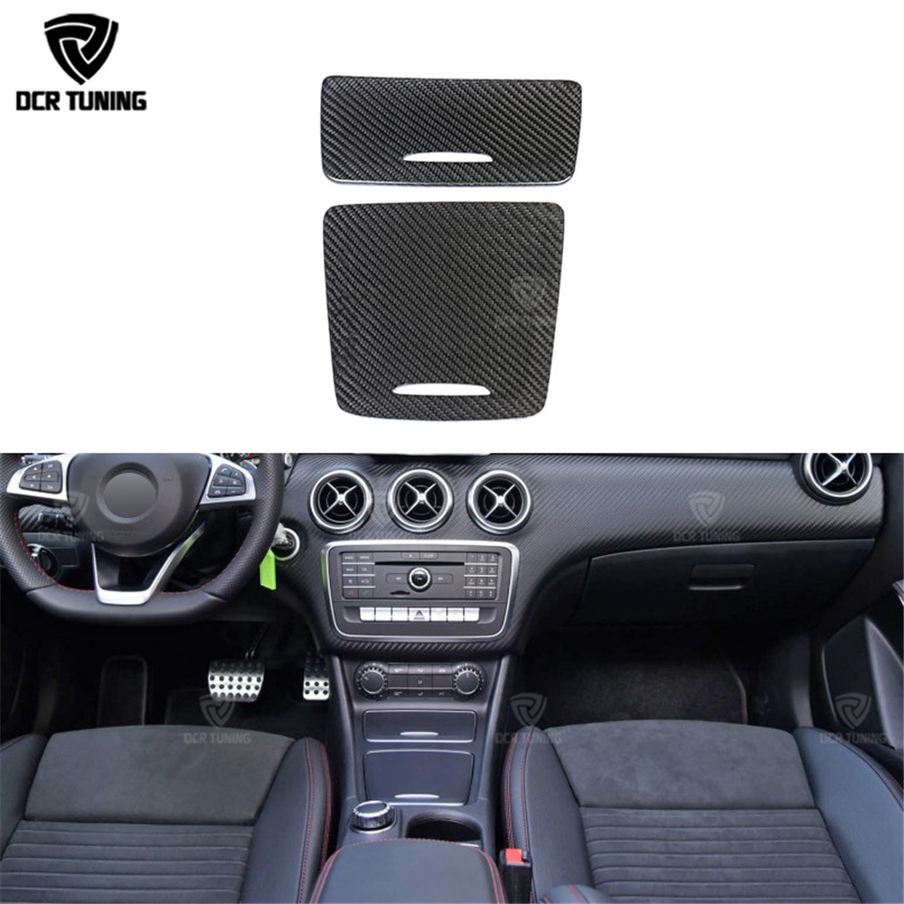 For Mercedes A class CLA class GLA class Carbon Fiber Gear Surround Compartment Cover Interior Trim Accessories (AMG not fit) for mercedes benz cla class w117 cla180 cla200 cla250 cla45 amg carbon fiber front lip splitter flap canard fits sporty car amg