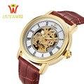 Relógio mecânico, esqueleto mens relógios top marca de luxo masculino relógio automático xfcs um relógio de pulso de couro homens relógio de pulso ouyawei