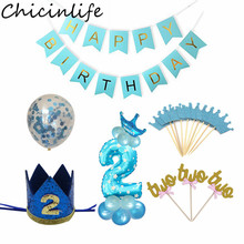 Chicinlife 2nd Birthday Party Decoration Blue Pink Number Balloon Baby Shower Kids Boy Girl 2 Year Old Birthday Party Supplies
