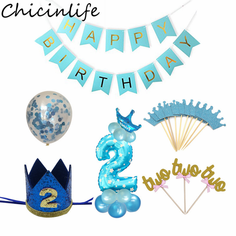 Chicinlife 2nd Birthday Party Decoration Blue Pink Number Balloon Baby Shower Kids Boy Girl 2 Year Old Supplies