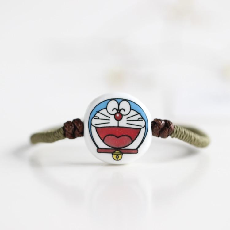 Fashion Japanese Style Bracelets Cartoon Smile Doraemon Pattern Ceramic Bracelet Rope Chain Jewelry for Women Accessories