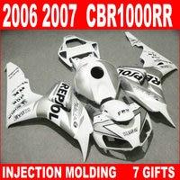 Hot sale injection mold for HONDA cbr 1000 rr 2006 2007 fairings CBR1000RR 06 07 white black silvery fairing kit OB864