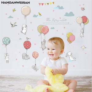 1pcs 50*70CM Colorful balloons cute rabbit children's room decoration removable self-adhesive wall stickers on the wall