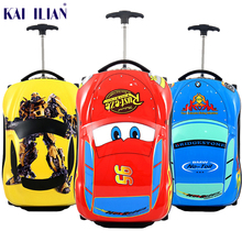 3D Kids Suitcase Car Travel Luggage Children Travel Trolley Suitcase for boys wheeled suitcase for kids Rolling luggage suitcase travel tale 20 24 inches abs pc cartoon lovely rolling luggage customs lock spinner brand travel suitcase