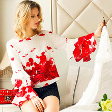 Chiffon blouses shirt 2017 new arrival women o-neck red Leaves print Loose blusa Runway fashion Flare sleeve top shirts