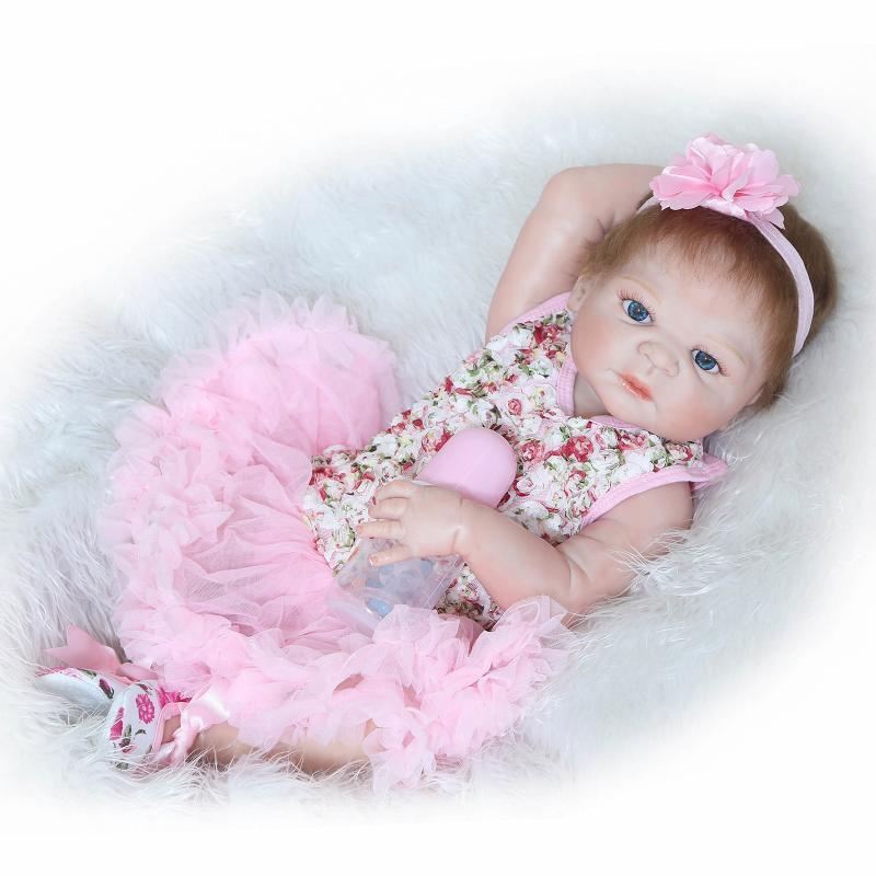 23 pouces corps complet Silicone Reborn bébé réel cheveux réaliste bébé poupée à la main bébé fille poupée peut bain cadeaux pour enfants robe rose
