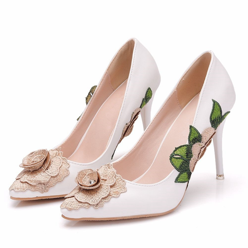 Large Size 34-41 Women Pumps High Heels Wedding Party Ladies Cloth Flowers Shoes Sexy Thin Heel Female Pump White XY-A0197
