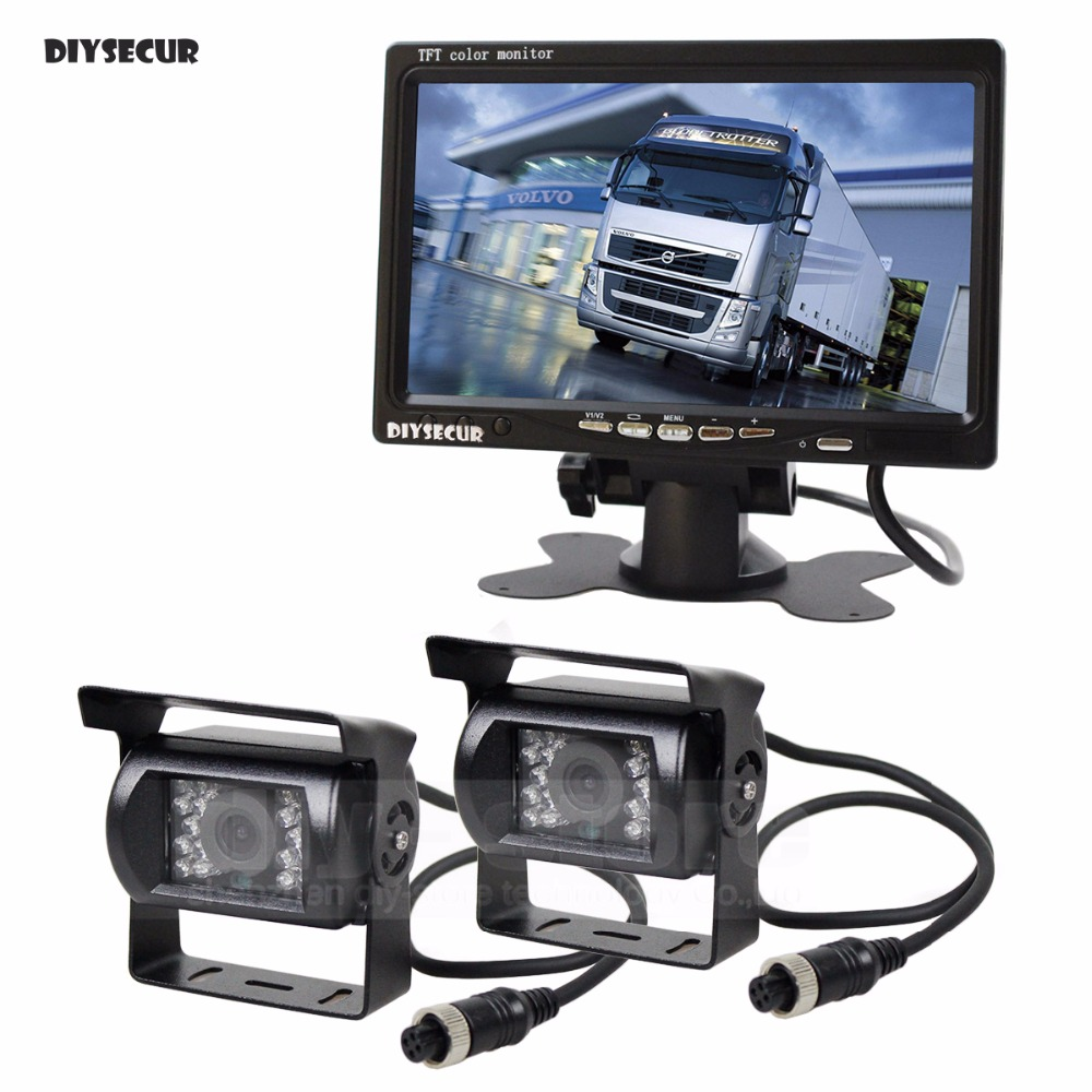 DIYSECUR 2 x 4pin Night Vision CCD Rear View Camera Kit + DC 12V - 24V 7 inch TFT LCD Monitor System For Bus Houseboat Truck купить недорого в Москве