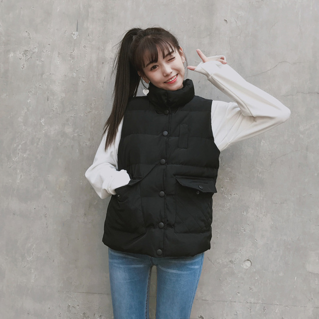 Winter Stand Collar Cotton Padded Casual Vest Women Slim Waistcoat Cute Ladies Solid Short Vest Jacket Coats Black Gray Pink