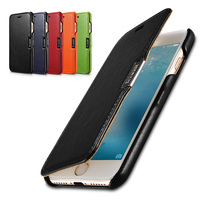 ICARER Brand Case For IPhone 7 4 7 Luxury Curved Edge Genuine Cowhide Leather Magnetic Cover
