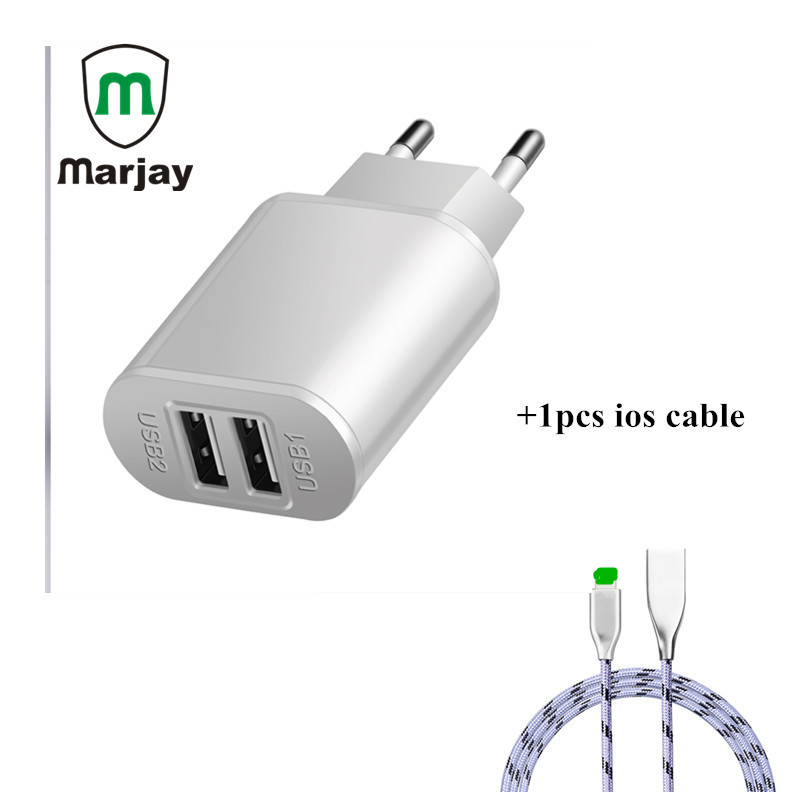 Marjay 5V 2A Dual USB Charger, Mobile Phone EU Charger Plug Travel Wall Charger Adapter For iPhone X 8 7 6 6S iPad Phone Charger
