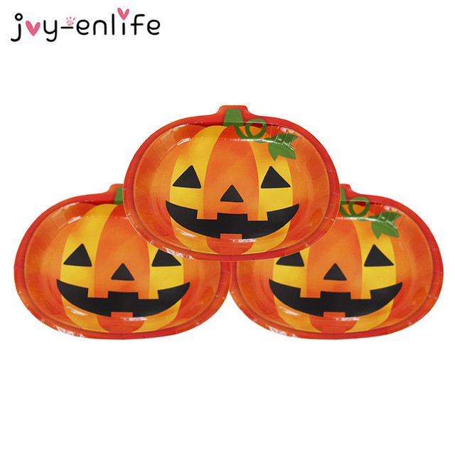 JOY-ENLIFE 6pcs Disposable Smile Pumpkin Shape Paper Plates Halloween Party Children Birthday Carnival Party  sc 1 st  AliExpress.com & JOY ENLIFE 6pcs Disposable Smile Pumpkin Shape Paper Plates ...