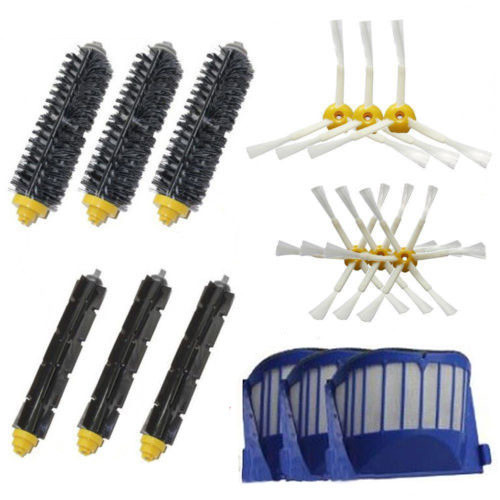 Bristle & Flexible Beater & Armed Brush Aero Vac Filters kit for iRobot Roomba 600 Series 620 630 650 660 aero vac filter bristle brush flexible beater brush 3 armed side brush tool for irobot roomba 600 series 620 630 650 660