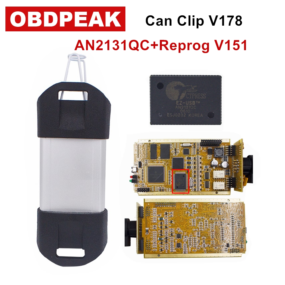 2018 For Renault CYPERSS AN2131QC Full Chip SYPRESS AN2131QC Reprog V151 OBDII Diagnostic Interface For Renault 1998-2017 for renault can clip v178 full chip cypress an2131qc reprog v151 obdii diagnostic interface can clip car diagnostic tool scanner