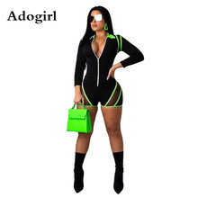 Sexy Sheer Mesh Fluorescence Color Striped Patchwork Playsuits Long Sleeve Zipper Trim Shorts Jumpsuit Night Club Overalls