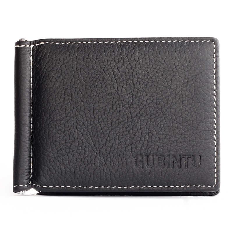 Baru Pria Kulit Asli Dompet Fashion Merek Slim Front Pocket Uang Klip Dompet ZC6018