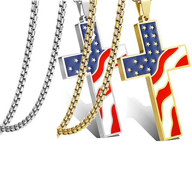 American USA Flag Necklaces Gold Cross Pendant Stainless Steel  2