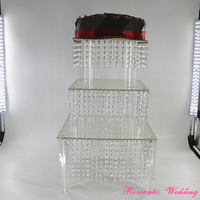 Romantic Wedding Crystal Bead Cup Cake Stand Square Clear Acrylic 3 Layers Cake Racks for Wedding Party Event Usage
