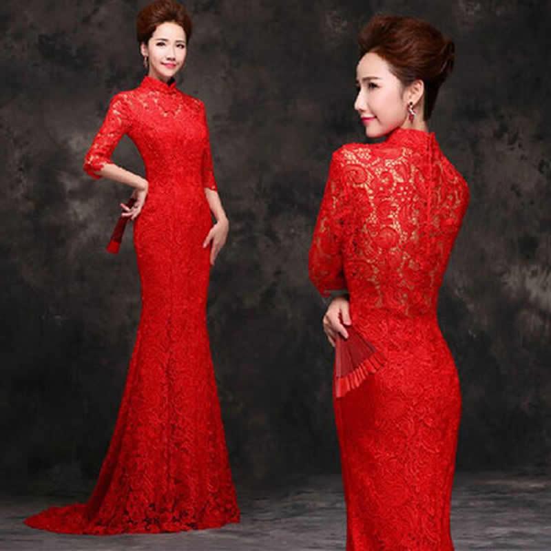 بأمتصاص الدانتيل الأحمر ذيل طويل - الملابس الوطنية