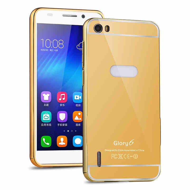 Xinchentech Untuk Huawei Honor 6 Kasus Mewah Cermin Logam Bingkai + - Aksesori dan suku cadang ponsel - Foto 3