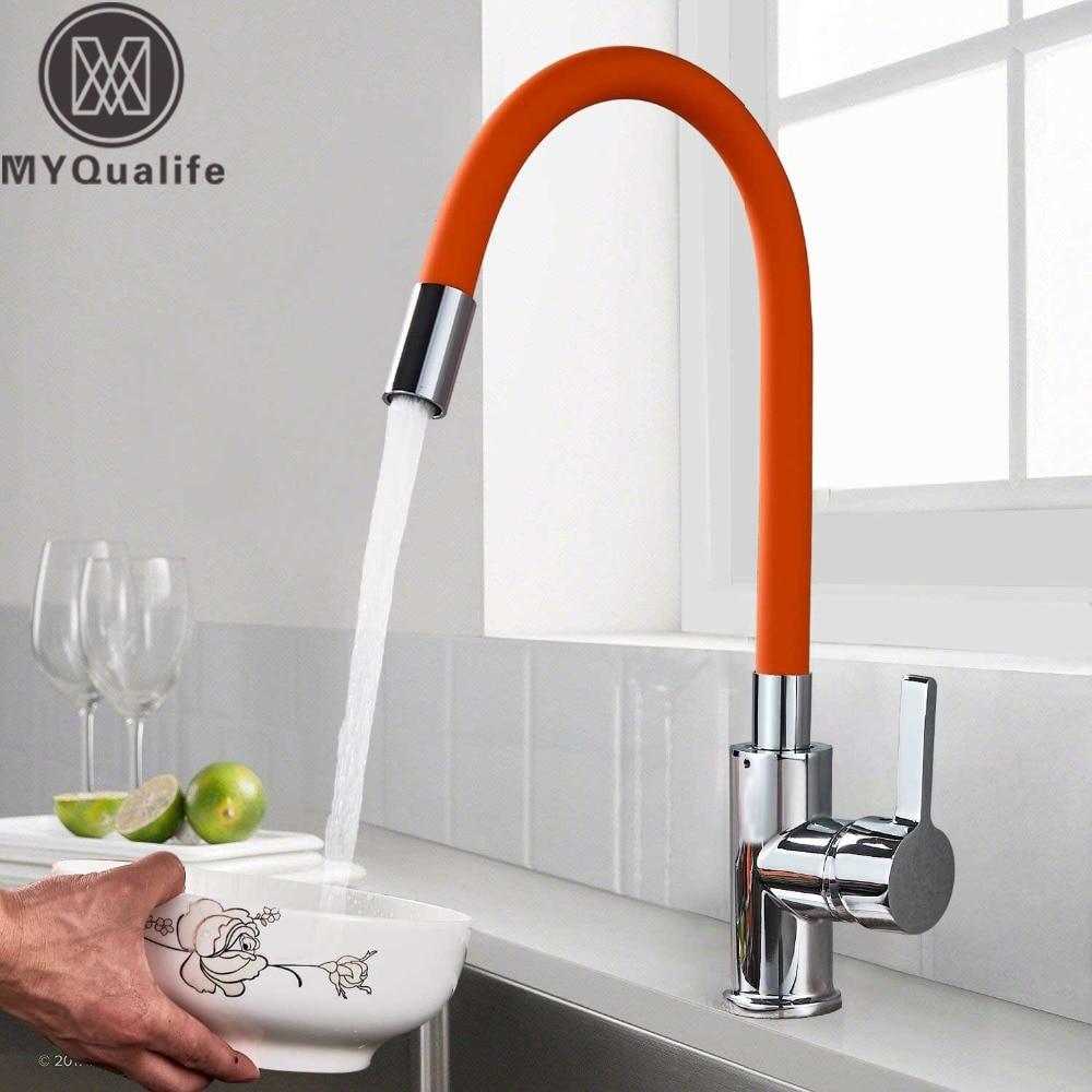 Orange Pipe Flexible Neck Kitchen Sink Faucet Chrome Universal Pipe Hot Cold Kitchen Mixer Tap Deck Mounted Bathroom Kitchen Tap