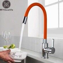 Robinet universel, tuyau Orange, robinet dévier à col Flexible chromé, mitigeur de cuisine chaud froid, robinet de cuisine monté sur le pont, robinet de cuisine de salle de bains