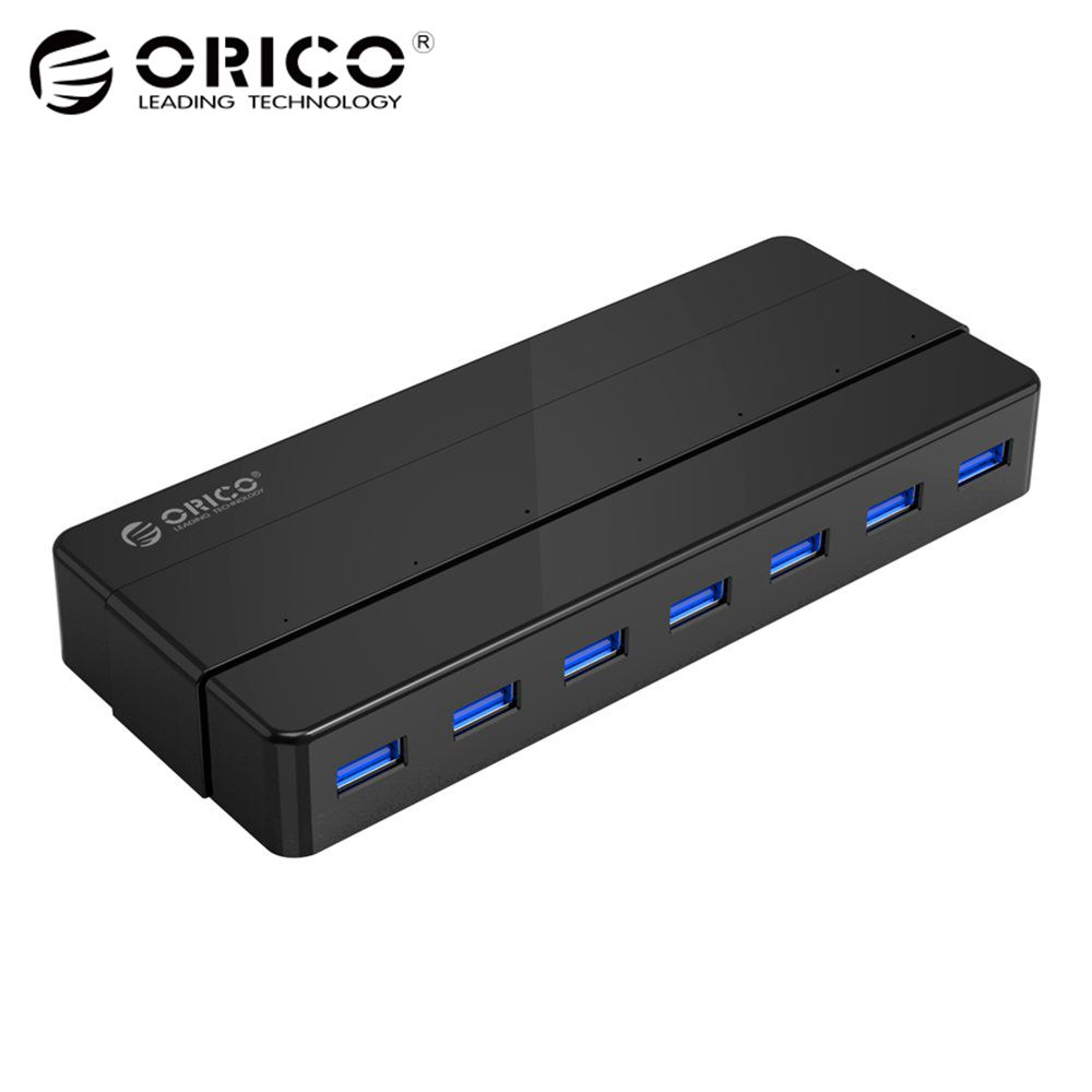 ORICO 7 Port USB3.0 HUB 5Gbps SuperSpeed Portable 12V2.5A Power Adapter VIA Controller 3.3Ft For Laptop Desktop Peripherals USB
