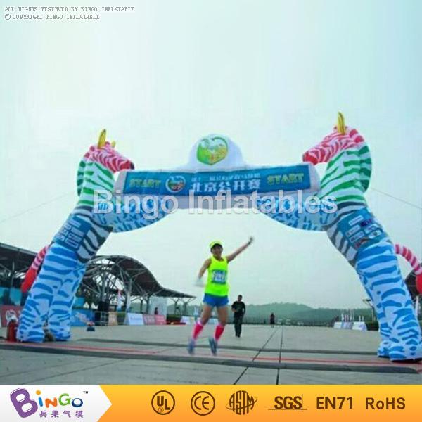 2016 marca nueva línea de salida con la cebra animales eventos arco arco inflable de carreras de 8 M de ancho BG-A1100 juguete