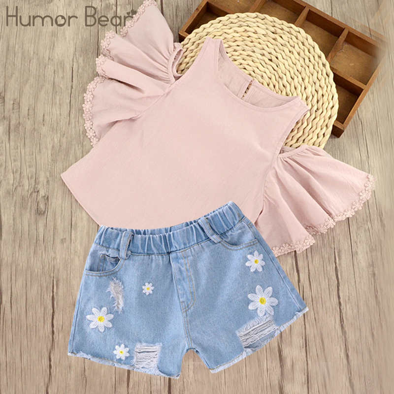 Humor Bear Children Clothing 2017 Summer Kids Casual Clothes Girls Clothes Sets Style Printing T-Shirt + Pant 2Pcs Set humor bear baby girl clothes set new sequins letter long sleeve t shirt stars skirt 2pcs girl clothing sets kids clothes