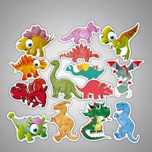 14pcs/Lot Dinosaur Adventure Cartoon Graffiti Stickers Kids Scrapbooking Skateboard Waterproof PVC Laptop Luggage Stickers Pack(China)