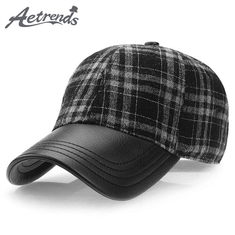 [AETRENDS] Vintage plaid pattern men hat 2018 winter   baseball     cap   trucker sport golf hats with PU Leather visor male   caps   Z-3888