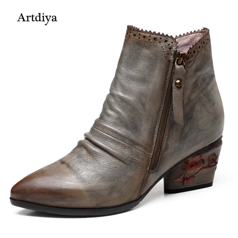 Artdiya 2017 New Retro Pointed Toe Embroidered Cowhide Leather Women Shoes Handmade Somersault Ankle Boots 5367-1