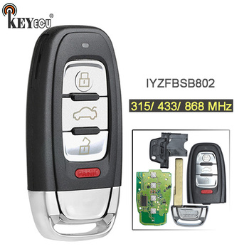 KEYECU 3x  315/ 433/ 868MHz FCC: IYZFBSB802 Smart 3+1 4 Button Remote Key Fob for Audi A3 A4 A5 A6 A8 Quattro Q5 Q7 A6 A8