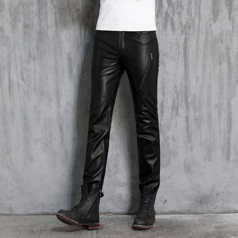 Genuine Pants Autumn Winter Men's Black Motorcycle Pants Thermal Sheepskin Pants Male Personality Straight Thick Leather Pants