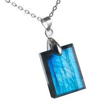 Genuine Natural Blue Light Labradorite Pendant Gemstone Women Men Fashion Rectangle 20x14x6mm Crystal Moonstone AAAA