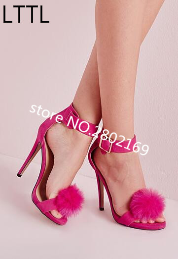 Hot Selling Fur Sandals Super High Heels Gladiator Branded Fashion Buckle Open Toe Red Black Suede Leather Sexy Summer Shoes glamorous black suede butterfly wings thin high heels sandals classy women open toe buckle dress shoes fashion sandalhot selling