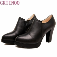 Spring And Autumn Women S Shoes Thick High Heels Fashion Women Genuine Leather Shoes First Layer