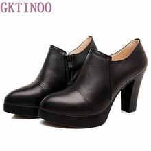 Весна и осень женская обувь толстые Обувь на высоком каблуке модная женская обувь из натуральной кожи сумка из воловьей кожи Туфли-лодочки на платформе